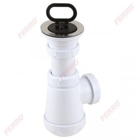 Sifon lavoar 1 1/2x40/50 mm, PP alb tip butelie cu ventil si dop
