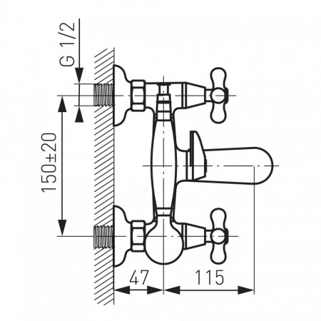 Baterie perete cada/dus Retro, crom cu accesorii - XR11