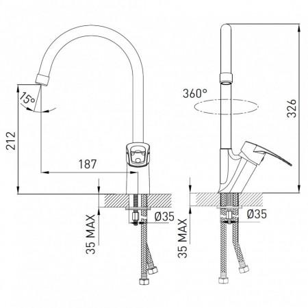 Baterie stativa spalator Fosca, crom cu pipa lebada - BFA4
