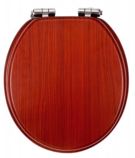 Capac WC soft-close din lemn de nuc, natur deschis