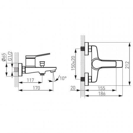 Set FERRO STRATOS 2in1: Baterie cada-dus + Set dus Quadro cu 1 functie, ploaie, crom