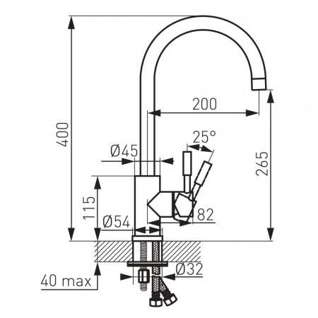 Baterie stativa spalator Prato, crom cu pipa lebada - BPR4