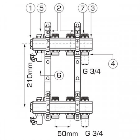 "Distribuitor/colector-repartitor tip RO 1"" 11 cai - RO11S"