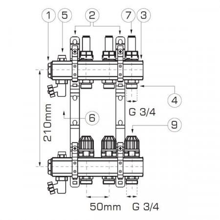 "Distribuitor/colector-repartitor tip RZP 1"" 2 cai - RZP02S"