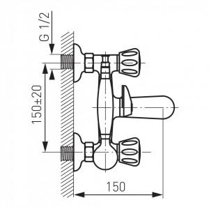 Baterie perete cada/dus Standard crom cu accesorii - BST11