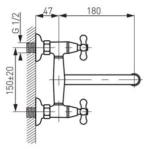 Baterie perete lavoar/spalator Retro, crom - XR5