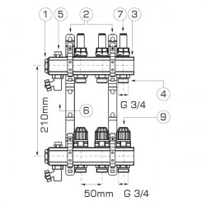 Distribuitor/colector-repartitor tip RZP 1'' 7 cai - RZP07S