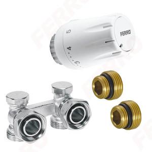 Set robinet radiator termostatic dublu coltar 3/4 + cap termostatat GT11 alim. din perete
