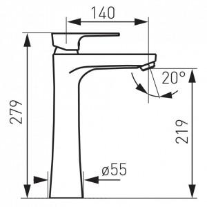 Baterie lavoar Ferro Square, racord flexibil D3/8 - M10x1, cartus ceramic, crom
