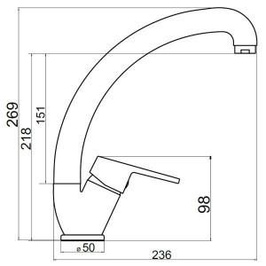 Baterie stativa spalator Iris New, crom cu pipa lebada - 94414,0