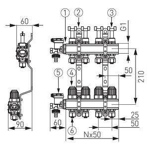Distribuitor/colector-repartitor tip N-RZP 1'' 6 cai - N-RZP06S
