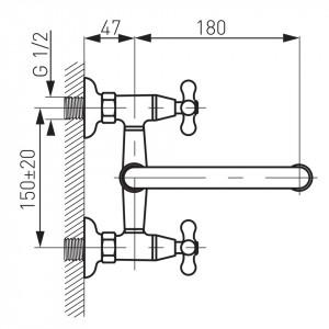 Baterie perete lavoar/spalator Retro, crom - XR3