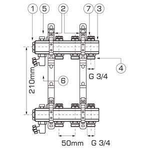 "Distribuitor/colector-repartitor tip RO 1"" 12 cai - RO12S"
