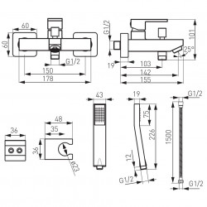 Pachet 2 Baterii Ferro Zicco: Cada/Dus, Lavoar, crom