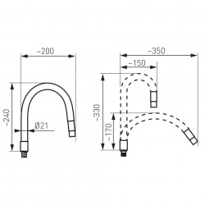 Pipa elastica pentru baterie spalator Elastico, alb - W100W-B