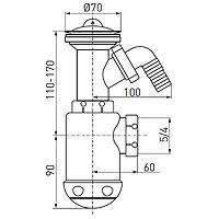 Sifon Ferro Lavoar Dn50 Sita Inox+Dop Tip443