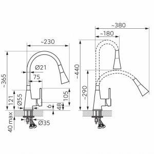 Baterie Stativa Spalator Zumba 2, Crom/Gri, Pipa Flexibila