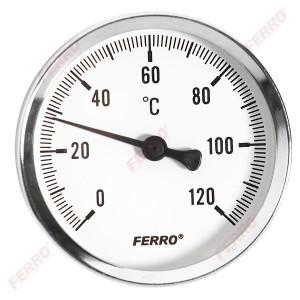 """Termometru D.40 mm 1/4"""", axial, 0-120°C"""