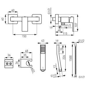 Baterie Dus Zicco Cube + Set Dus Cu Suport, Negru Mat