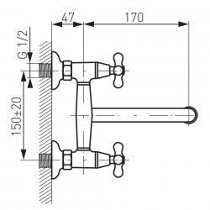 Baterie perete lavoar/spalator Retro New, crom - XD5