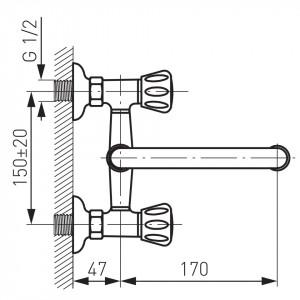 Baterie perete lavoar/spalator Standard, crom - BST3