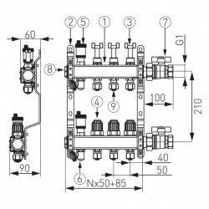 Pachet Distribuitor/Colector 1``- 4 Cai FERRO din Otel Inoxidabil pentru incalzire in pardoseala cu racorduri