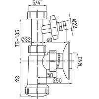 Sifon Ferro Lavoar 5/4``X40Mm Plastic +Rac. Mas. Tip432