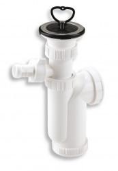 Sifon lavoar 1 1/2x40/50 mm, PP alb cu racord masina spalat, ventil si dop