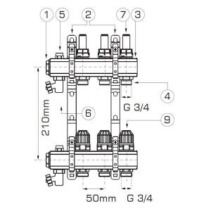 Distribuitor/colector-repartitor tip RZP 1'' 9 cai - RZP09S