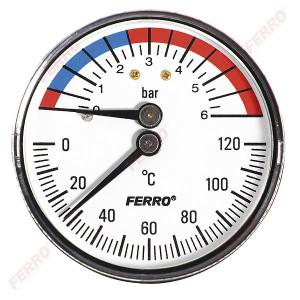 """Termomanometru D.63 mm 1/2"""" axial, 0-6 bari, 120°C"""