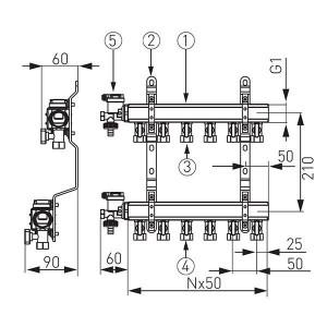 Distribuitor/colector-repartitor tip N-RO 1'' 5 cai - N-RO05S