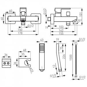 """Pachet 3 Baterii Ferro Zicco: Cada/Dus, Lavoar, Bucatarie """"Lebada"""", crom"""