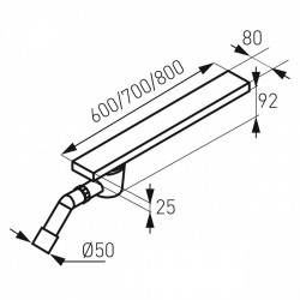 Rigola dus inox Easy New L= 800 mm, cu sifon lateral DN40/50
