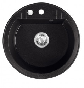 Set chiuveta Ferro granit rotunda, 51 cm, grafit cu baterie flexibila Ferro neagra