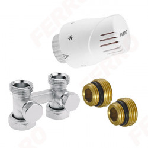Set robinet radiator termostatic dublu drept 3/4 + cap termostatat GT10 alim. din pardoseala