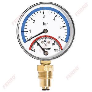 "Termomanometru D.80 mm 1/2"" radial, 0-6 bari, 120°C"