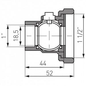 """Robinet trecere din alama cu olandez pt. pompa PN25, 1 1/2"""" FI-FE cu sfera"""