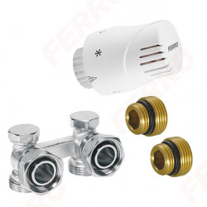 Set robinet radiator termostatic dublu coltar 3/4 + cap termostatat GT10 alim. din perete