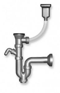 Sifon cu ventil si preaplin 49 mm, DN 40 pentru spalator Novaservis