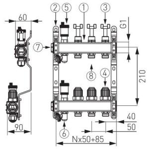 DISTRIB/COLECTOR 1`` INOX INC.RAD. 8 CAI FARA EUROCON