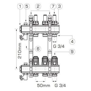 Distribuitor/colector-repartitor tip RZP 1'' 8 cai - RZP08S