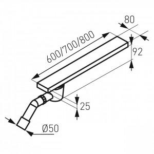 Rigola dus inox Easy New L= 700 mm, cu sifon lateral DN40/50