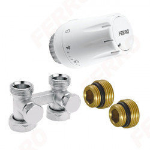 Set robinet radiator termostatic dublu drept 3/4 + cap termostatat GT11 alim. din pardoseala