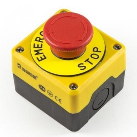 Kontrolna kutija sa pečurkom P1EC400E40K, fi40mm, sa nalepnicom, crno-žuta IP65 Emas