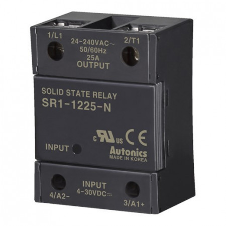 Solid State Relay SR1-1225-N,1-fazni, ulaz 4-30Vdc,izlaz 24-240Vac, 25A Autonics