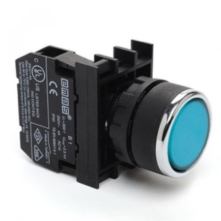 Taster plavi B100DM, 1NO, oklopljen, ugradnja na fi22mm, 4A 250Vac IP50 Emas