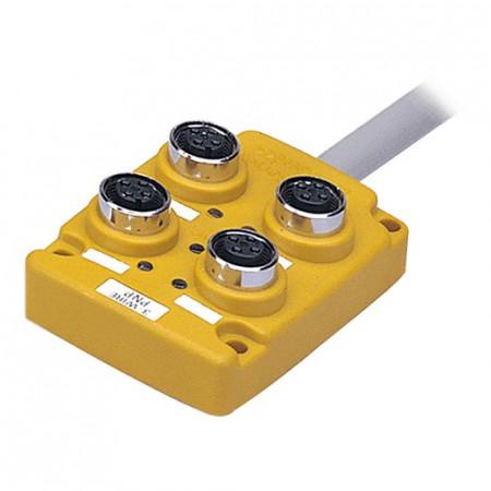 Konektorska kutija, PT4-3DP, 4 port, 4pin M12, PNP, LED indikacija,5m kabal,12-24Vdc IP67 Autonics