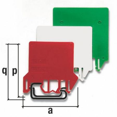 Obojena razdelna pločica, DU04R, CRVENA, tip DFU/4/RED Cabur