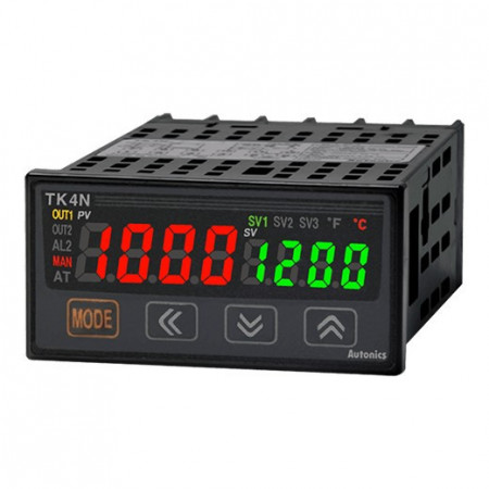 Termoregulator TK4N-D4CR,dis.1 red-2x4d,48x24mm,alarm,2DI,struj/SSR,2 relej,100-240Vac IP65 Autonics