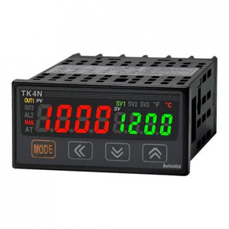 Termoregulator TK4N-D4CR,dis.1 red-2x4d,48x24mm,alarm,2DI,struj/SSR,2 relej,100-240Vac IP65 Autonics